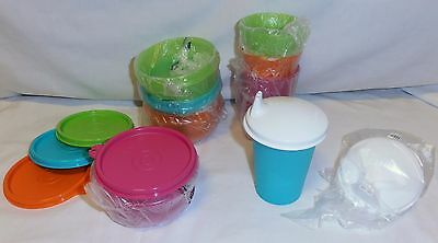 BNIP TUPPERWARE SIP AND SNACK SET includes bell tumblers & Lit'L Bowls!