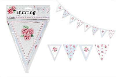 Afternoon Tea Party Paper Bunting Floral Decoration 14 Flags 3M