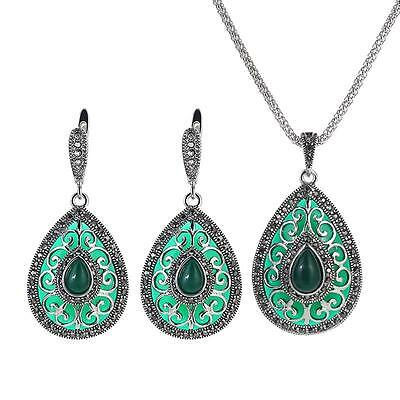 Antique Style Silver Black Crystal & Green Pendant Necklace & Earring Set #JS75