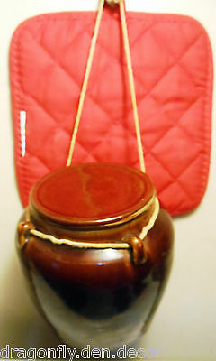 Vtg Chinese Export Brown-Glazed Vintage Stoneware Pottery Herb/Spice Jar w Lid