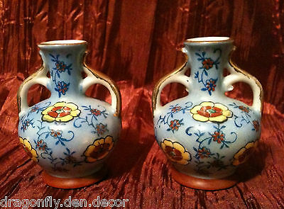 Pair of Asian, Chinese or Japanese Miniature 2 Handled Floral Painted Bud Vases