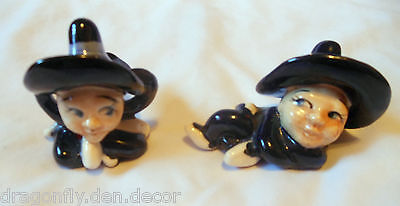 Pair of Made in Japan Pilgrims with Hats Figurines Hand Painted Porcelain China