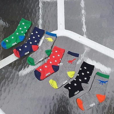 MINI BODEN AWESOME BOYS 7 PAIRS DINO-STARS SOCKS. Size 2-3 Years. New with tags!