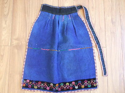 Traditional Folk Bulgarian APRON – hand loomed blue wool with embroidery