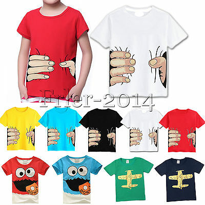 Summer Kids Boys 3D Pattern Casual Tops Shirts Clothes T Shirt Cotton Tee 2-8Y