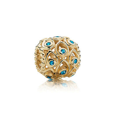 New Authentic Pandora Ocean Treasures Deep Blue Topaz & 14K Gold Charm 750817TPP