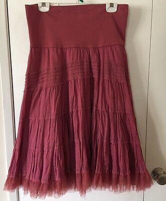 Liz Lange Maternity Tiered Layered Mauve Tulle Skirt SZ S