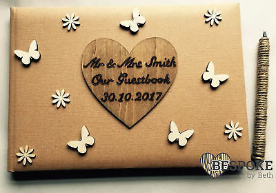 Personalised Wedding Party Guest Book Natural Wood Embellished Rustic Love Marry