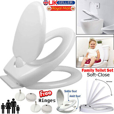Luxury Family Friendly Soft Close Child Potty Training Toilet Seat Top Hinges UK