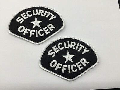 2 Security OFFICER Star Uniform Shirt Jacket Shoulder Patch Badge Blk/Wht