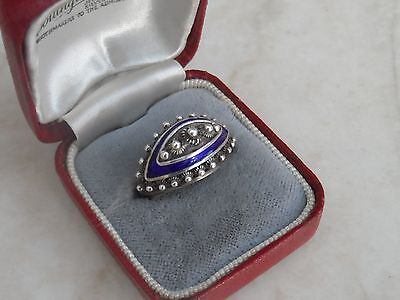 stunning Vintage Ornate Marked Sterling Silver & Blue Enamel Dome Ring Sz O 4.3g