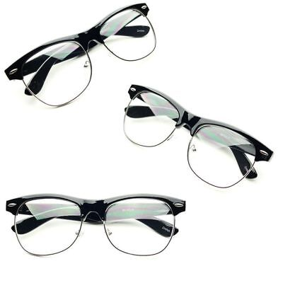 CLUB-MASTER Half Frame CLEAR LENS GLASSES Black Silver Color Vintage  Retro k