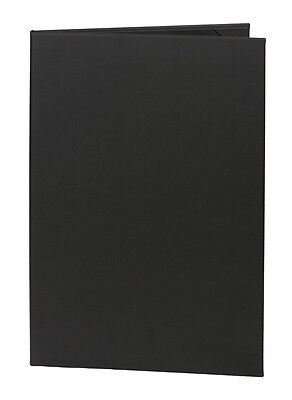 "(10pk) Black Faux Leather Menu Covers, 2-panel, 8.5"" x 14"" insert"