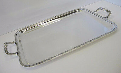 925 Sterling Silver Handmade Empire Border Rectangular Tray With Handles 01059-4
