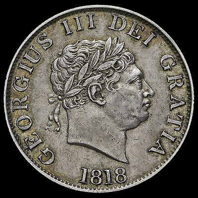 1818 George III Milled Silver Half Crown, GVF