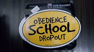 OBEDIENCE SCHOOL DROPOUT - YELLOW - Gifts, Cars, Trucks, Oval magnet, fridge