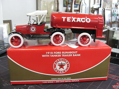 Ertl Texaco 1918 Ford Runabout With Tanker Trailer Bank 1:25 Scale Nib 286-007F