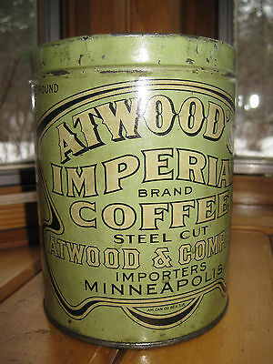 Vintage Rare ATWOOD'S IMPERIAL Coffee Can TIN Atwood & Company MINNEAPOLIS MN