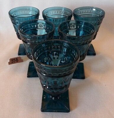 """Indiana Glass Set of 6 Riviera Blue Park Lane Square Footed 5 3/8"""" Water Goblets"""