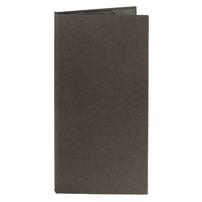 "(10pk) Menu Covers | Gray Poly-Cotton, 2-panel, 4.25"" x 11"" insert"