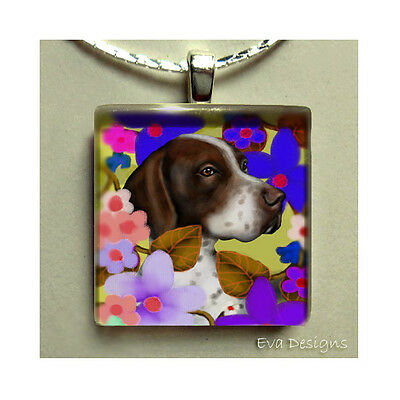 Liver English Pointer Dog Flowers Charm Art Jewelry Glass Tile Pendant Necklace