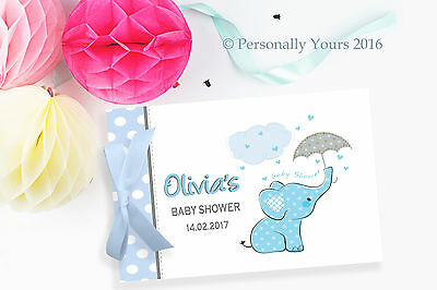 PERSONALISED  ELEPHANT BABY SHOWER GUEST BOOK - pink, green, yellow or Blue