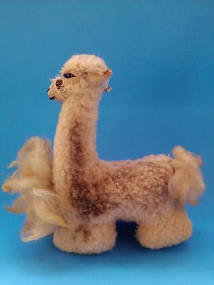"Vintage LAMA Llama wool stuffed TOY Alpaca South America Animal 6  "" high"