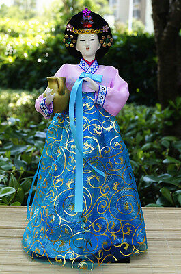 Ancient Korea Geisha Kimono Doll Hanbok Furnishing Silk Brocade Handmade -09