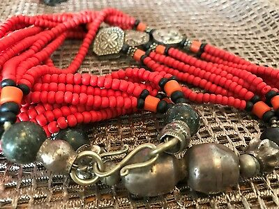Old African Style Red Beaded Necklace …nice accent piece