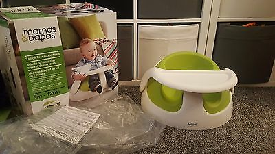 Mamas and Papas baby snug seat in Lime Green & tray 3M - 12M+ boxed