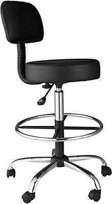 OneSpace 60-1018 Medical/Drafting Stool with Back Cushion, Black