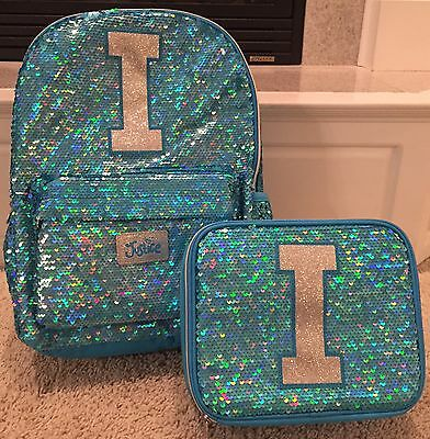 """Justice NWT Sequin Sparkle """"I"""" Backpack & Lunch Tote.  Cute!"""