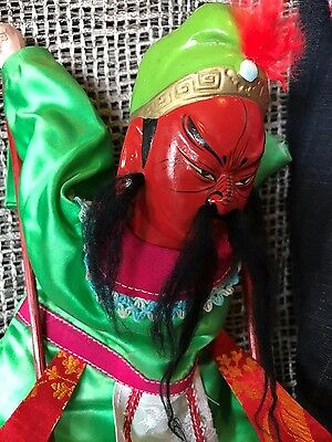 Old Chinese Stick Puppet in colourful satin costume …beautiful collection piece