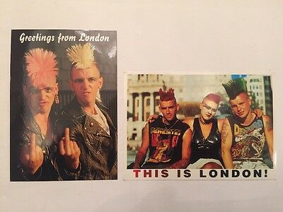 Vintage 1980's London Punk Rock Post Cards Unused Demented Band Mohawks Rock