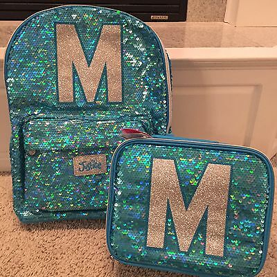 """Justice NWT Sequin Sparkle """"M"""" Backpack & Lunch Tote.  Cute!"""