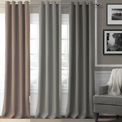 Thermal Eyelet Curtain Panel Room Darkening Insulated Blockout Blackout