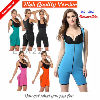 Ultra Sweat Neoprene Women Full Body Shaper Bodysuit Shapewear Suit Plus Size
