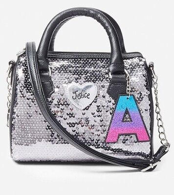 """Justice NWT Silver Sequin """"R"""" Initial Purse. Cute!!!"""