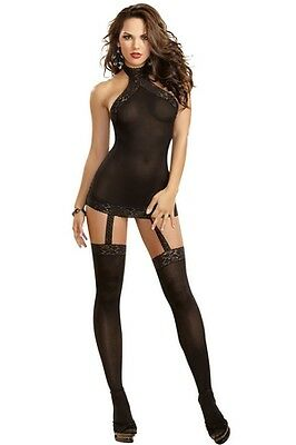 Dreamgirl Sheer Garter Dress With Lace Trim 0035 Black,Red