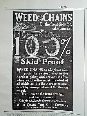 1914 Ad Weed Chain Tire Grip Co ===100% Skid Froof == Free Postage Usa