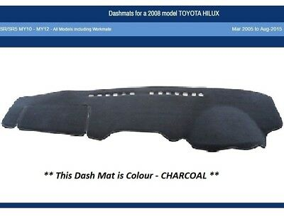 Dash Mat Moulded Charcoal Suit Toyota Hilux SR SR5 03/05-08/15 MY10-MY12 Dashmat