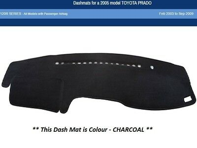 Dash Mat Moulded Charcoal for Toyota Prado 120R Series-Passenger Airbag Dashmat