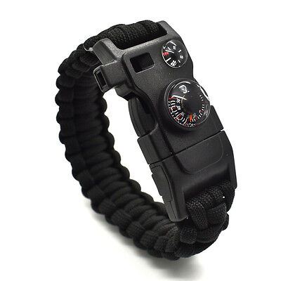 1pcs 15 in 1 Outdoor Survival Paracord Bracelet - Fire Starter Compass Whistle