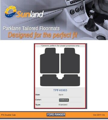 Floor Mats Tailored for Ford Ranger PX Oct 2011 On Charcoal 3 Piece Front & Rear