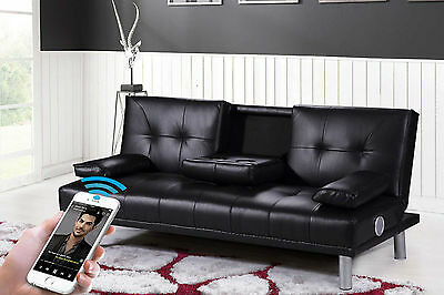 Hot Sale - Faux Leather 2/3 Seater Sofa Bed Bluetooth Music Speak & Black