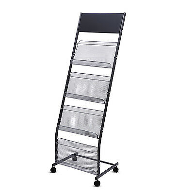 4 Pocket Mesh Magzine Rack for Office Floor Mobile Stand Steel File Holder, Grey