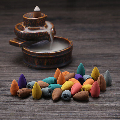 40X Natural Bullet Sandalwood Fragrance Incense Backflow Cones Tower Buddhism SD