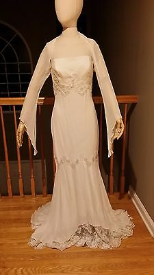 3 Day ONLY Sale  $375 vintage Ever After Bridal silk wedding gown with shrug
