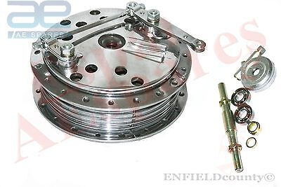 TWIN LEADING SHOE ROYAL ENFIELD 7''FRONT BRAKE DRUM HUB ASSEY POLISHED @ECspares