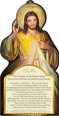 Divine Mercy Of Jesus Wooden Plaque - Religious Candles Statues Pictures Listed